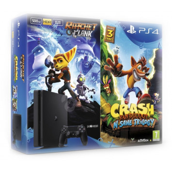 Sony PlayStation 4 Slim (PS4) 500 GB + Crash Bandicoot N. Sane Trilogy a Ratchet and Clank
